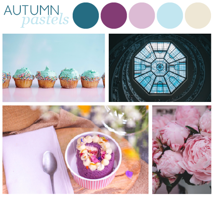 A moodboard for ideas for a pastel colour palette for autumn. Featuring four images of pink and blue cupcakes, a purple cake in a pot, a blue glass ceiling and pink peonies.