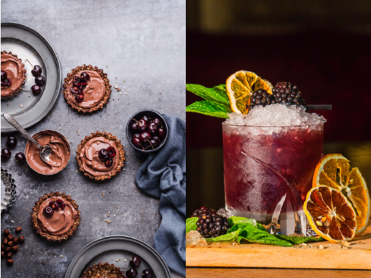 On the left, a flatlay image of some miniature chocolate tarts with cherries and on the right a bramble cocktail with dried orange segments, mint and blackberries - perfect ideas for an autumn wedding.