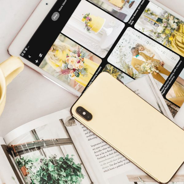 Tablet and iPhone showing how to use Pinterest to create a wedding moodboard