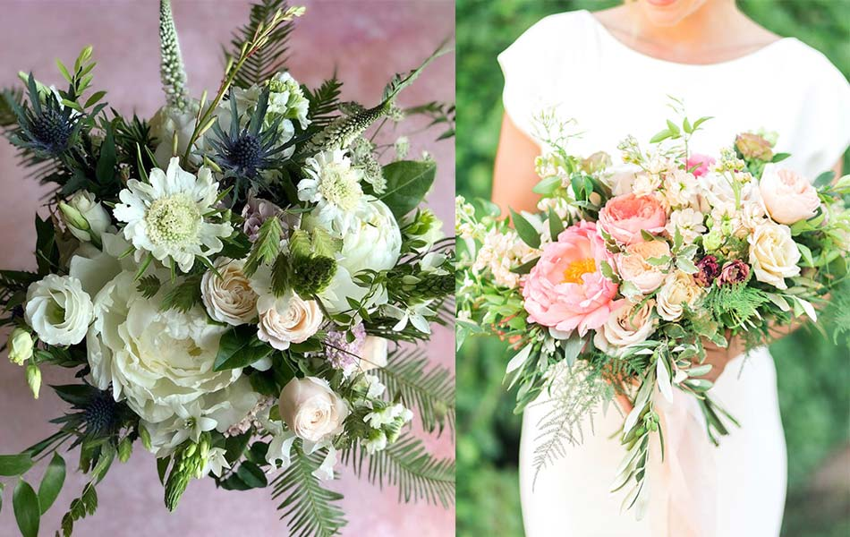 Two bouquets of seasonal summer flowers for your summer wedding ideas.