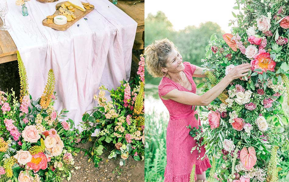 A low-level meadow-style floral arrangement and a florist working on a moongate arrangement as summer wedding ideas.
