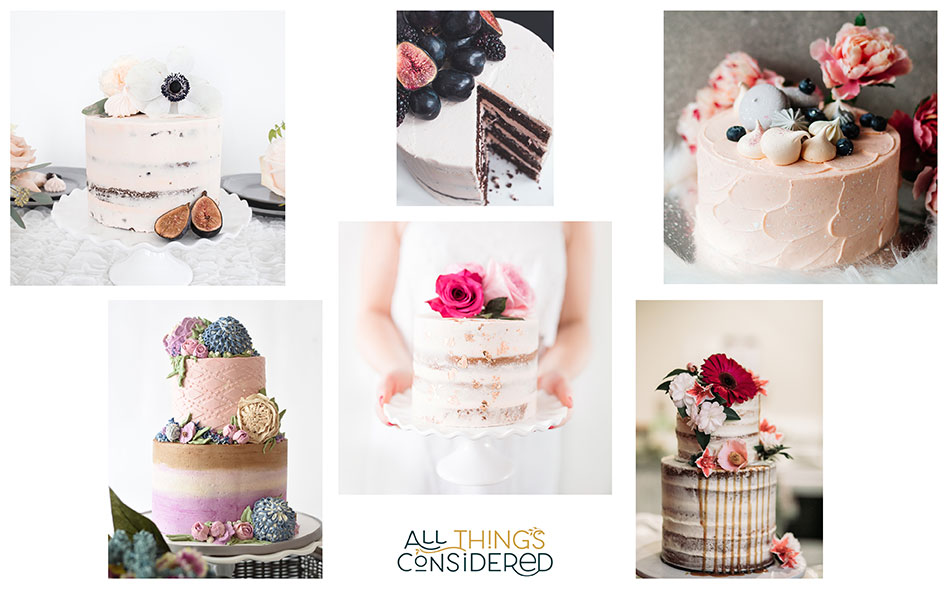 Using Pinterest to create a wedding moodboard for specific elements of your day. This board shows 5 different cake options in pinks and purples, all semi-naked using buttercream.