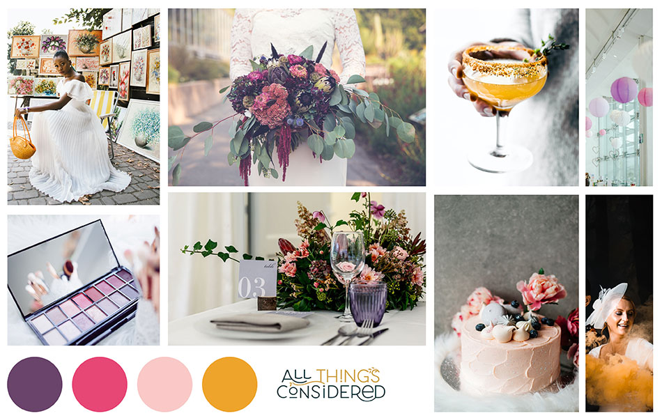 Using Pinterest to create a wedding moodboard for the overall look and feel of your day. This board features purple, bright pink, pale pink and yellow images of flowers, makeup, table setting and cake.