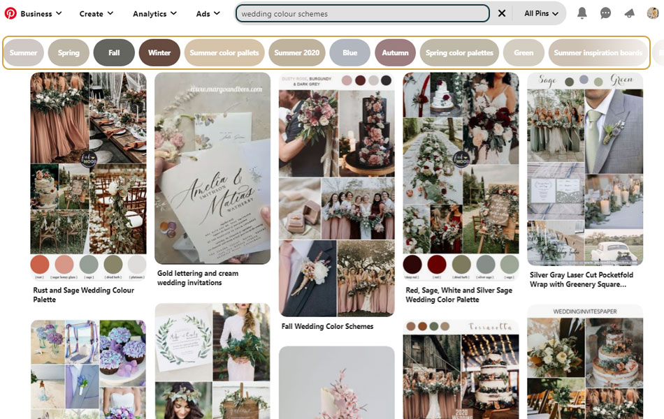 A Pinterest search bar with suggested sub-searches, showing how you can use Pinterest to create a wedding moodboard