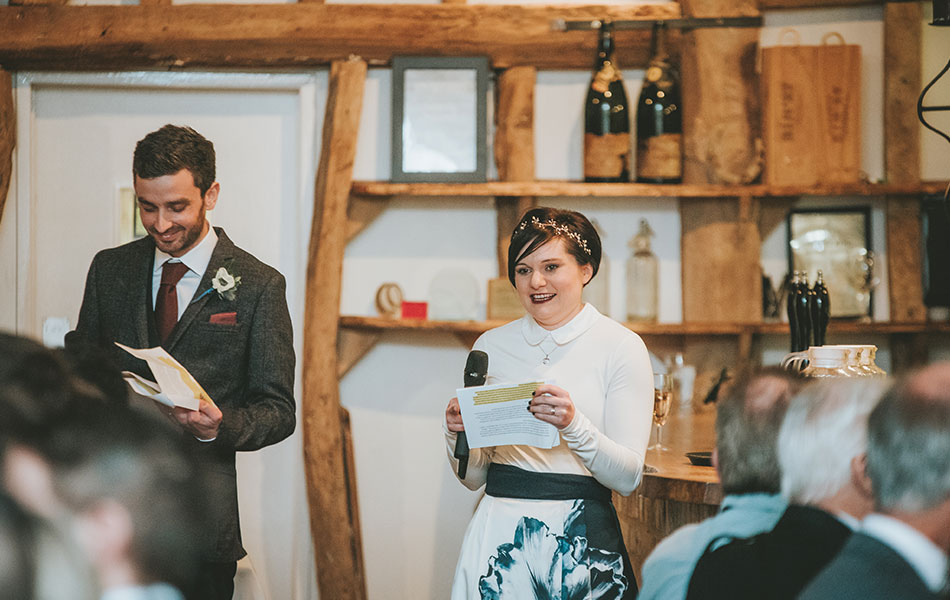 Play off each other in your joint wedding speech with a well-time eyeroll or sideways look.