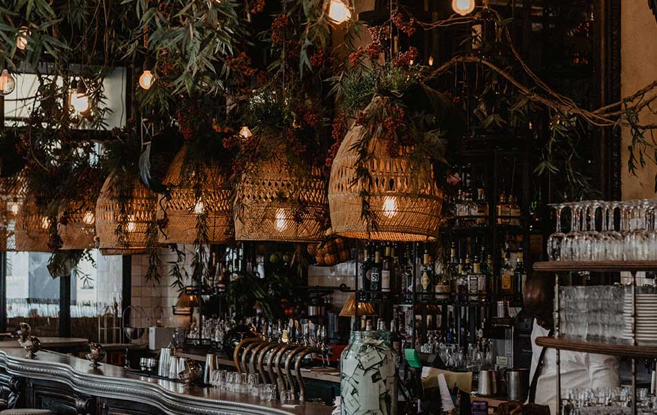 A tropical wedding bar with hanging rattan lampshades above, naked festton lightbulbs and lots of green foliage.